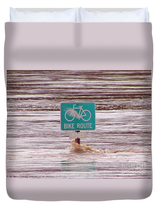 River Duvet Cover featuring the photograph Ironic Street Sign by Jamie Smith