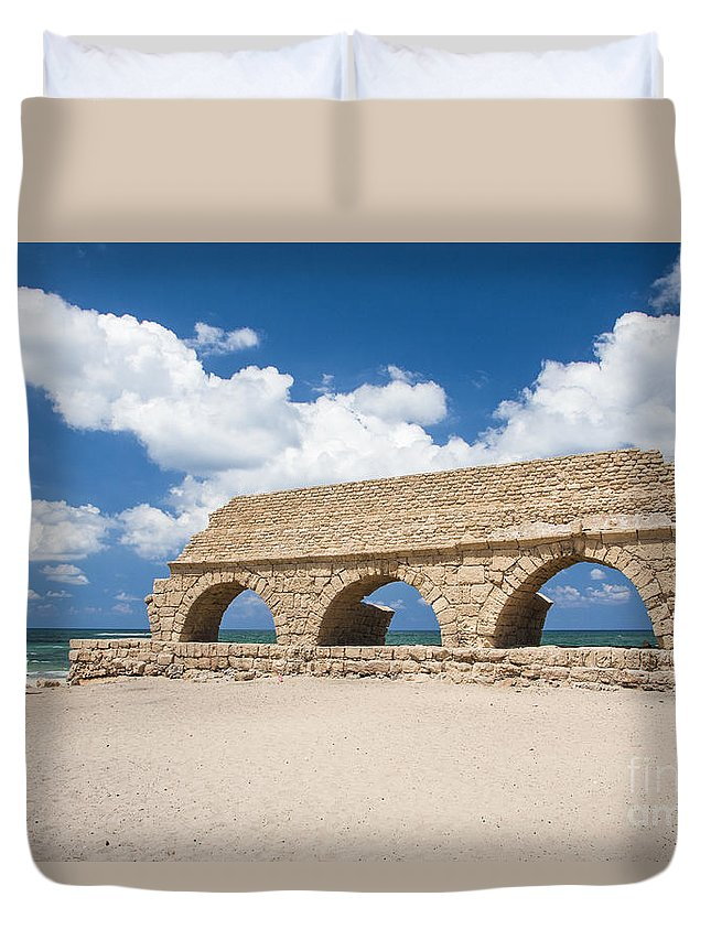 Roman Duvet Cover featuring the photograph Israel Caesarea Aqueduct by Eyal Bartov