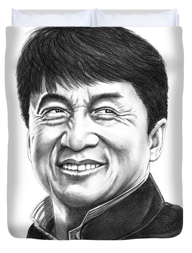 Pencil Duvet Cover featuring the drawing Jackie Chan by Murphy Elliott