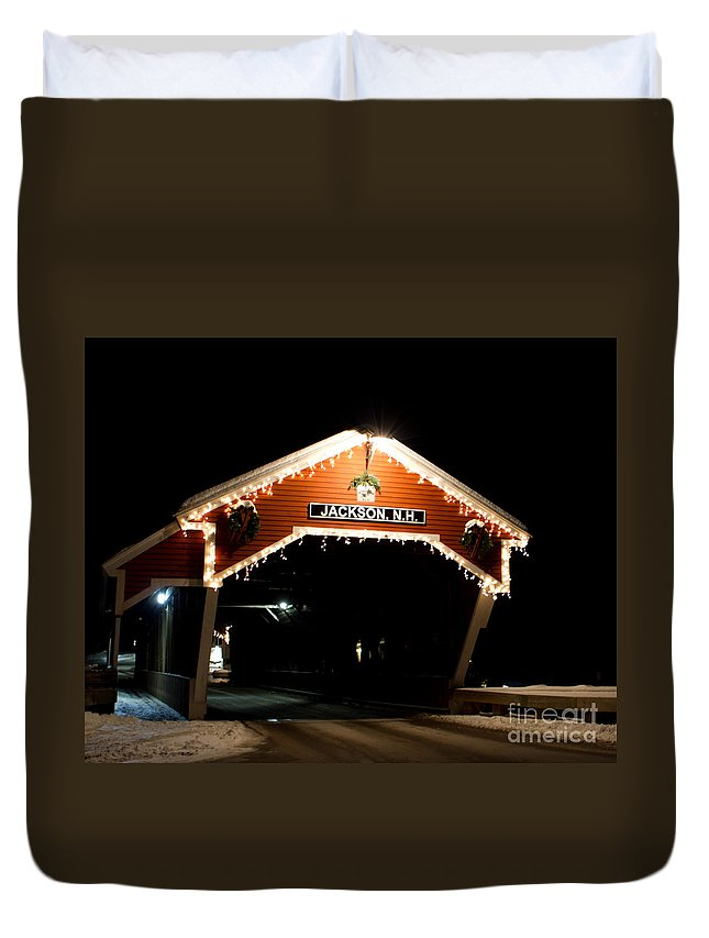Covered Bridge Duvet Cover featuring the photograph Jackson Nh Covered Bridge by Lloyd Alexander