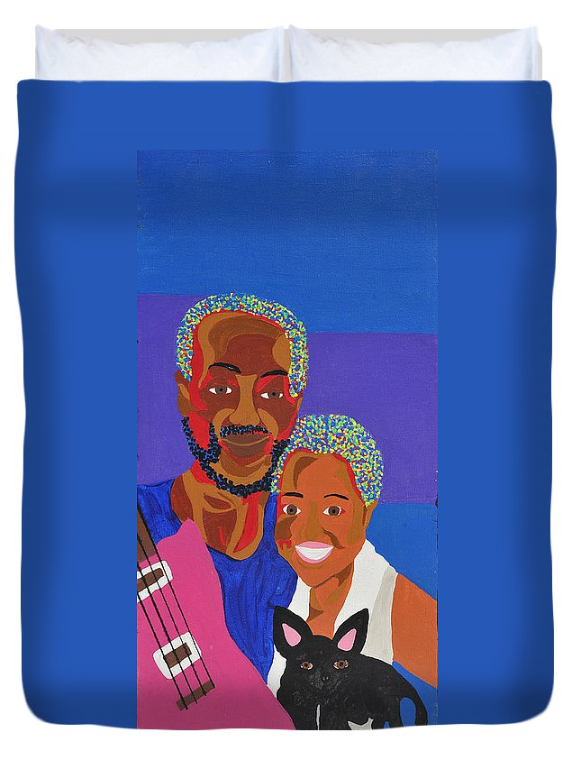 Portrait Duvet Cover featuring the painting James And Monique by Erika Chamberlin