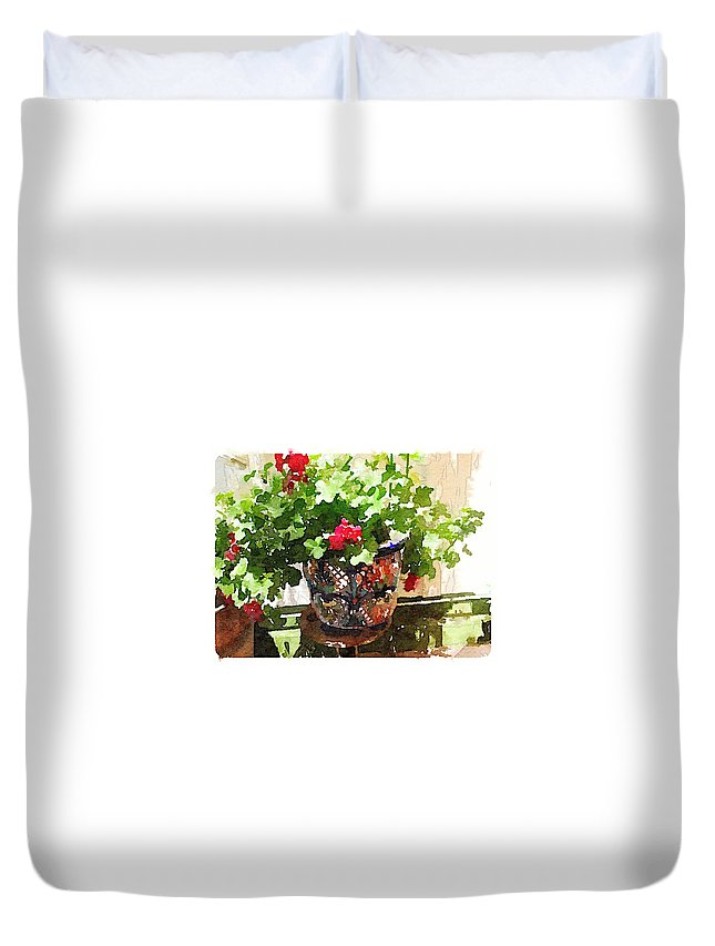 Waterlogue Duvet Cover featuring the digital art Jardines by Shannon Grissom