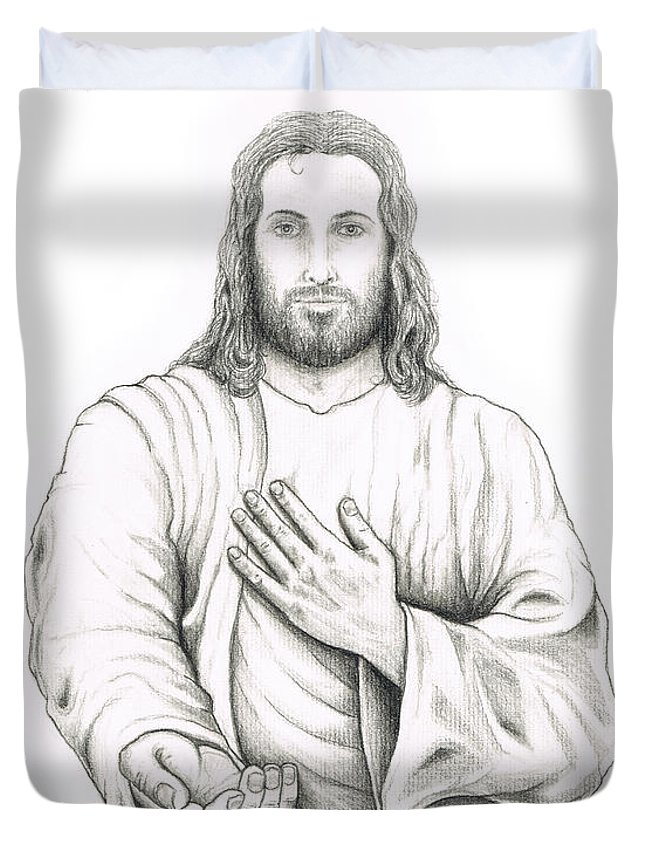 Jesus Duvet Cover featuring the drawing Jesus Offering His Hand by Jaison Cianelli