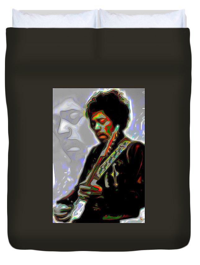 Jimi Hendrix; Jimi Hendrix Picture; Portrait Painting; Fine Art; Fine Art America; Fine Art Print; Figurative Art; Man; Modern Art; Music; Celebrity; Contemporary Art; Fli Duvet Cover featuring the painting Jimi Hendrix by Fli Art