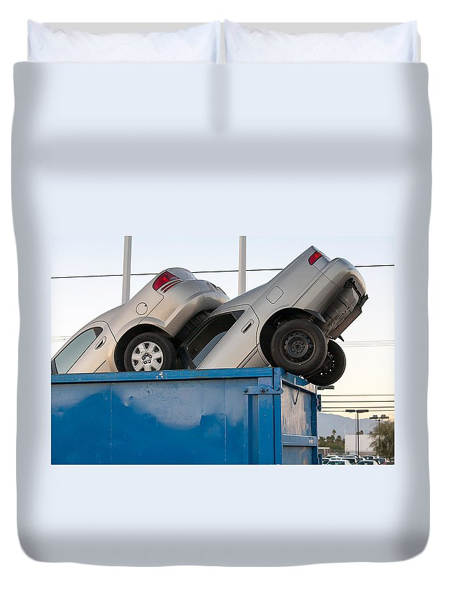 Aluminum Duvet Cover featuring the photograph Junk Cars In Dumpster Cash For Clunkers by Gunter Nezhoda