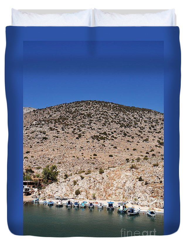 Kalymnos Duvet Cover featuring the photograph Kalymnos Port by Luis Alvarenga