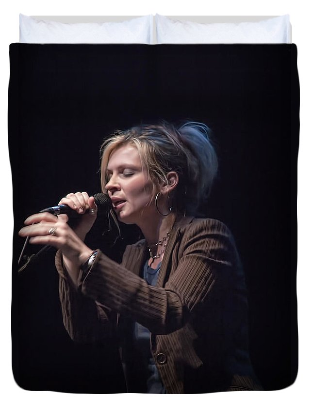 Art Duvet Cover featuring the photograph Karin Bergquist Lead Singer Of Over The Rhine by Randall Nyhof