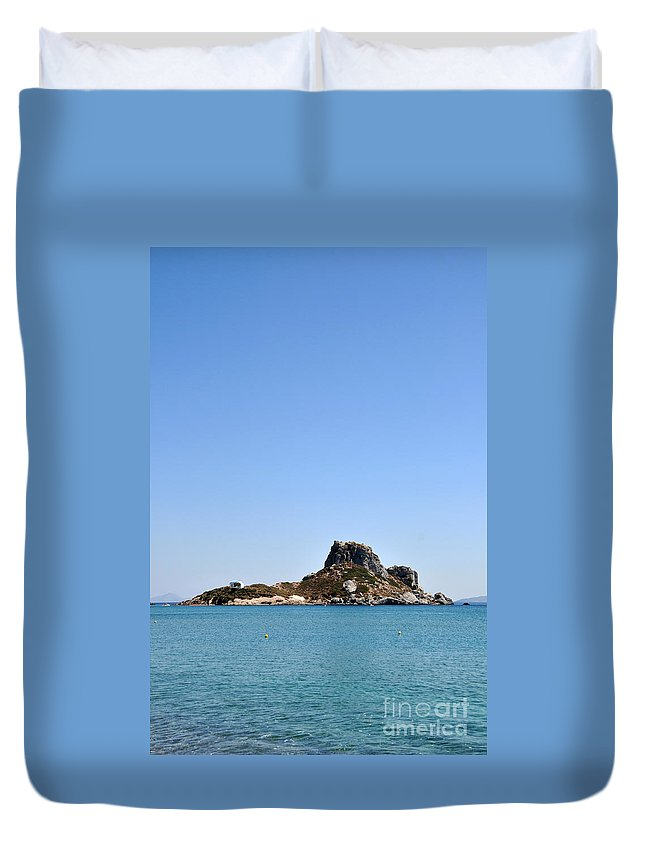 Beach Duvet Cover featuring the photograph Kefalos Island by Luis Alvarenga