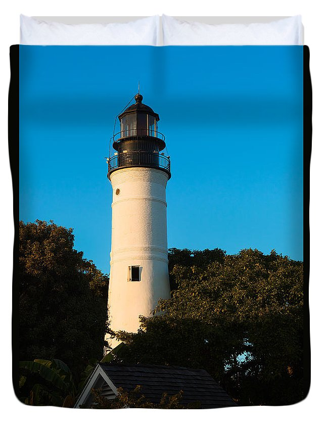 Aid To Navigation Duvet Cover featuring the photograph Key West Lighthouse by Ed Gleichman