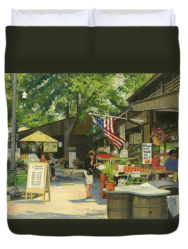 Kirkwood Duvet Cover featuring the painting Kirkwood Farmers Market American Flag by Don Langeneckert