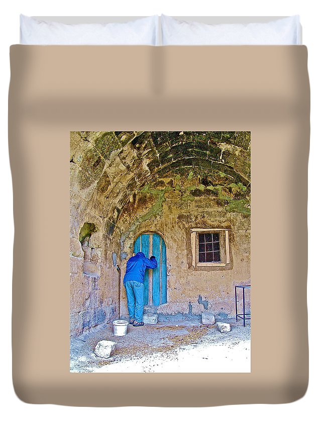 Knocking On A Blue Door Of Tufa Home In Goreme In Cappadocia Duvet Cover featuring the photograph Knocking On A Blue Door Of Tufa Home In Goreme In Cappadocia-turkey by Ruth Hager
