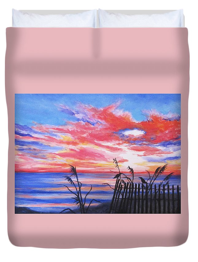 Beach Duvet Cover featuring the painting Ks Sunrise by Anne Marie Brown