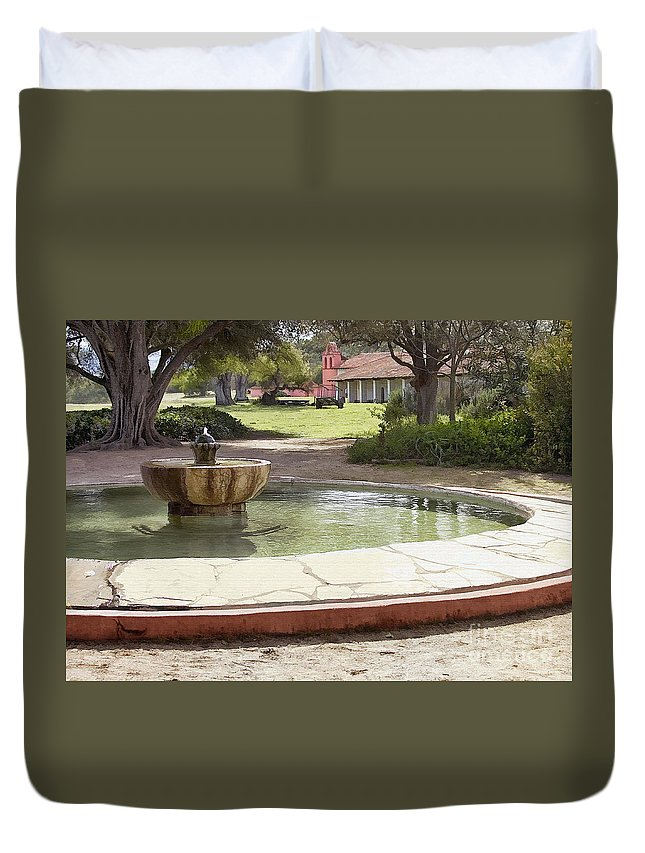 Mission Duvet Cover featuring the digital art La Purisima Fountain by Sharon Foster