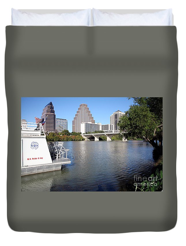 Austin Duvet Cover featuring the photograph Lady Bird Lake by Bill Cobb