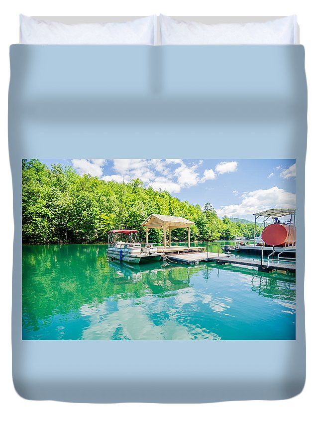 Great Duvet Cover featuring the photograph Lake Fontana Boats And Ramp In Great Smoky Mountains Nc by Alex Grichenko
