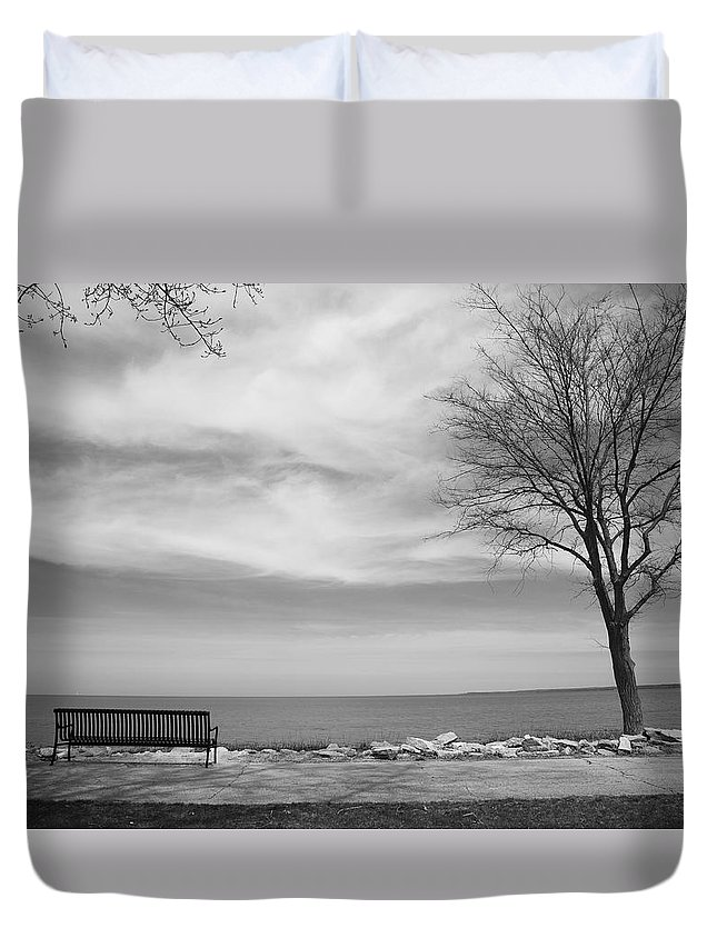 Art Duvet Cover featuring the photograph Lake Tree And Park Bench by Frank Romeo