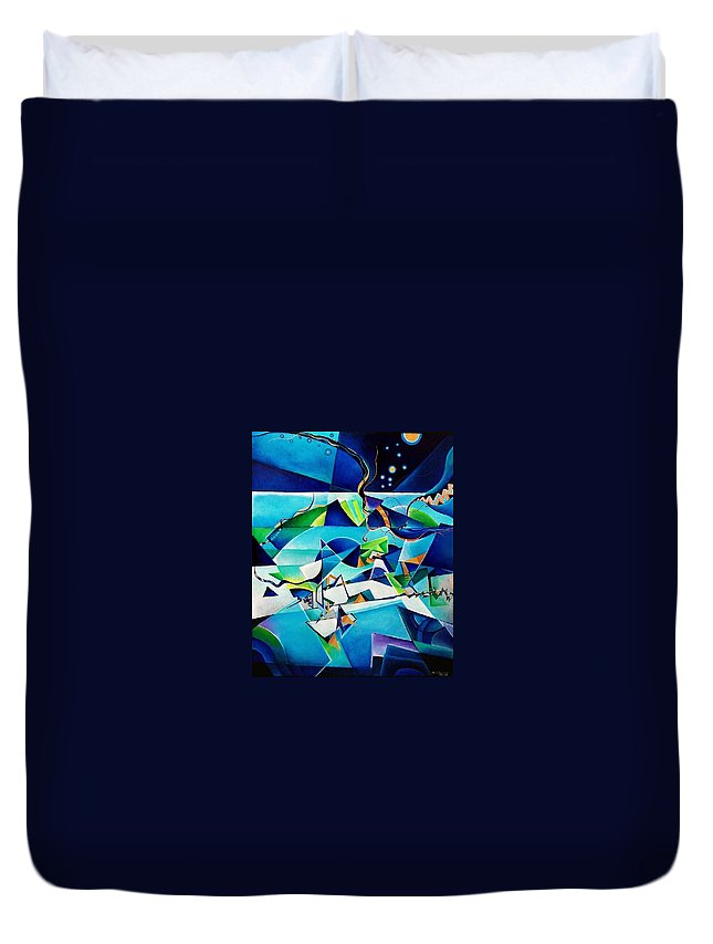 Landscpae Abstract Acrylic Wood Pens Duvet Cover featuring the painting Landscape by Wolfgang Schweizer