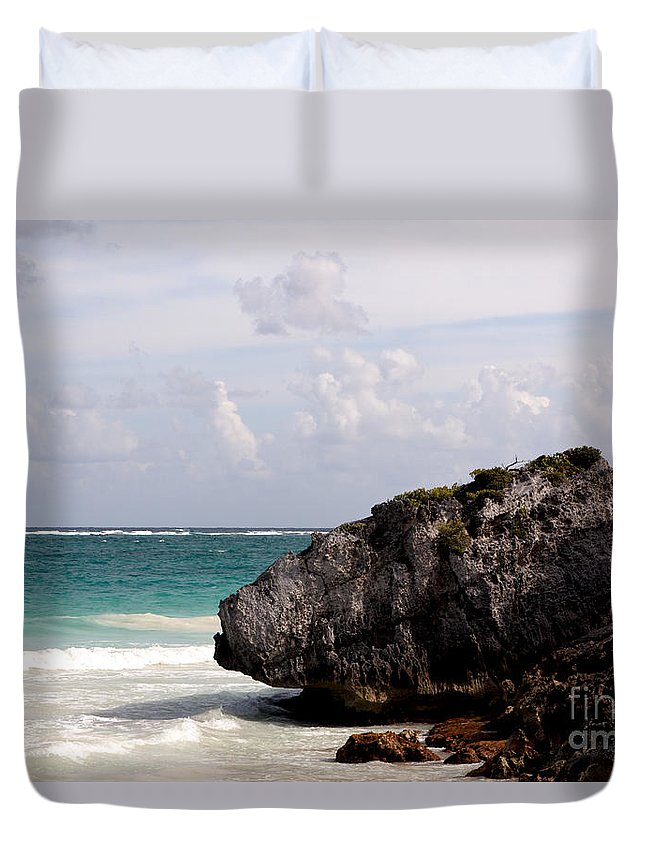 Background Duvet Cover featuring the photograph Large Boulder On A Caribbean Beach by Jannis Werner