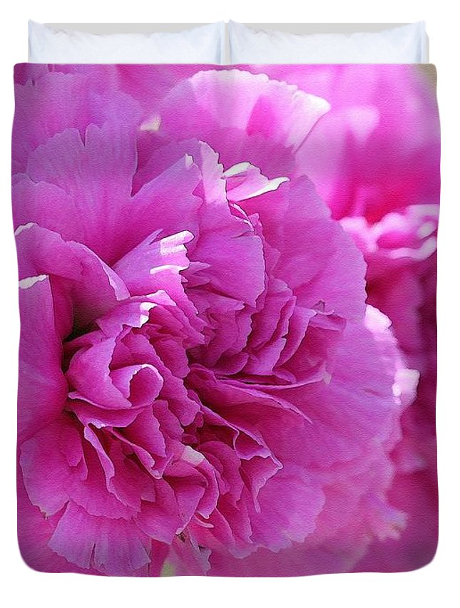 Mccombie Duvet Cover featuring the painting Lavender Carnations by J McCombie