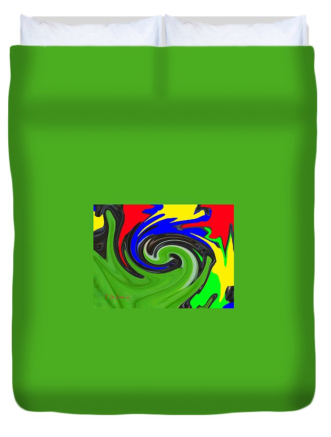Leaf And Color Abstract Digital Photo Editing No Texture Duvet Cover featuring the photograph Leaf And Color Abstract by Tom Janca