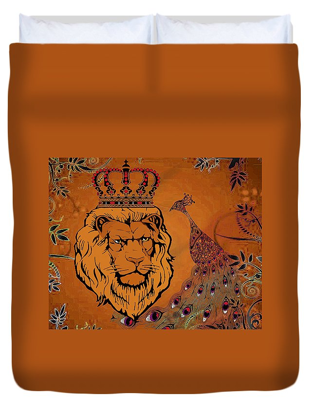 Lion Duvet Cover featuring the mixed media Lion And The Peacock by Catherine Harms