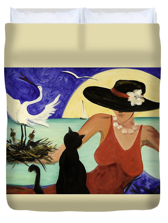 Colorful Art Duvet Cover featuring the painting Living The Dream by Gina De Gorna