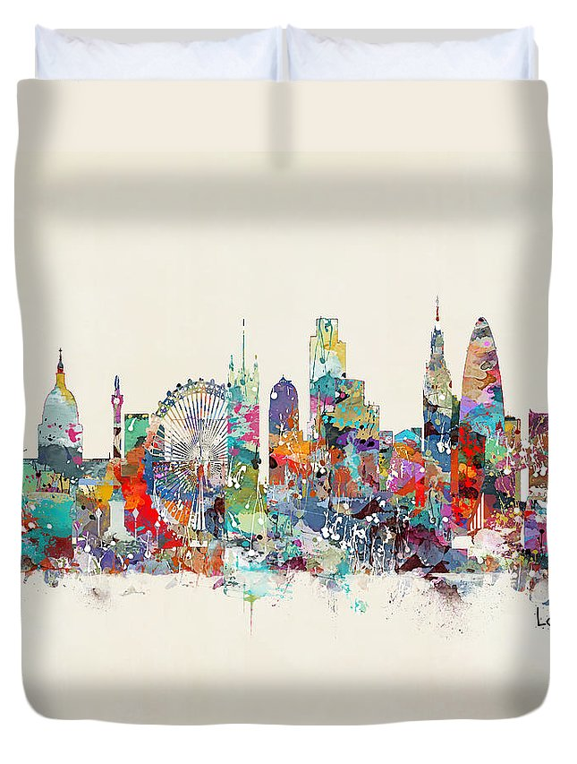 London City Skyline Duvet Cover featuring the painting London City Skyline by Bri Buckley