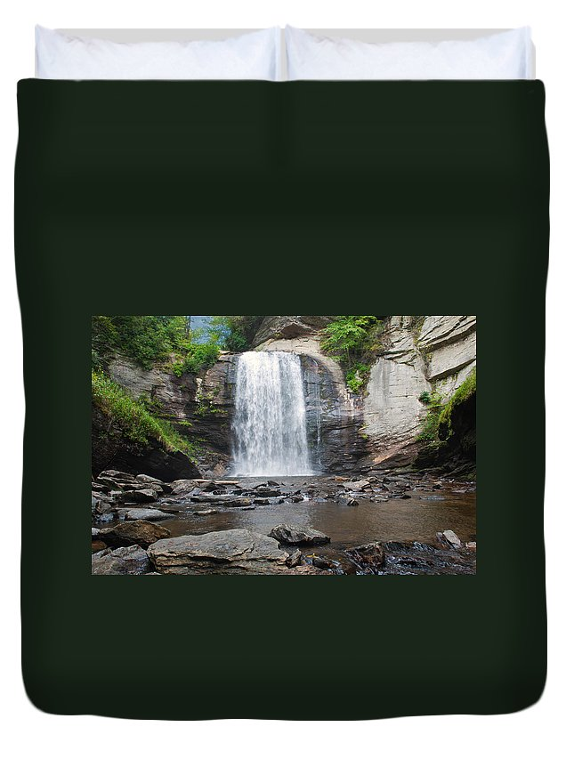 Waterfall Duvet Cover featuring the photograph Looking Glass Falls North Carolina by Charles Beeler