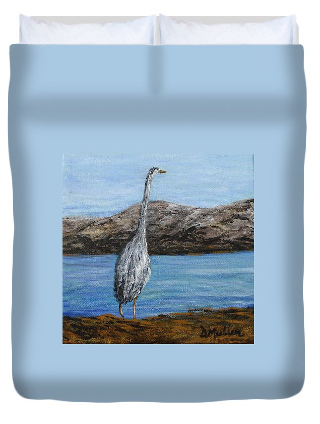 Blue Heron Duvet Cover featuring the painting Looking Out by Donna Muller