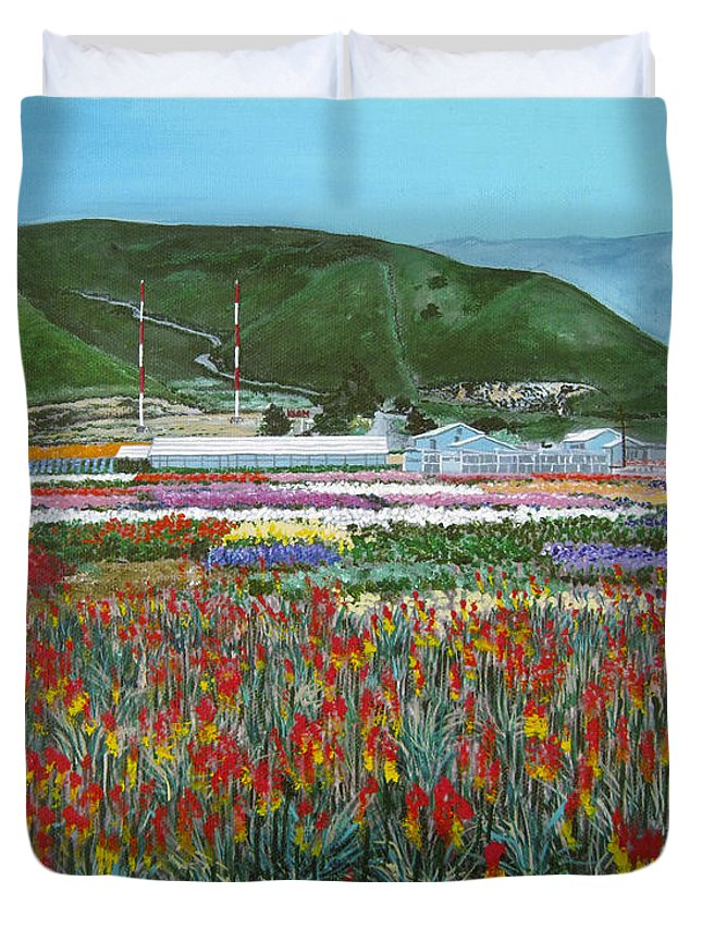 Flowers Duvet Cover featuring the painting Lookout Point by Angie Hamlin