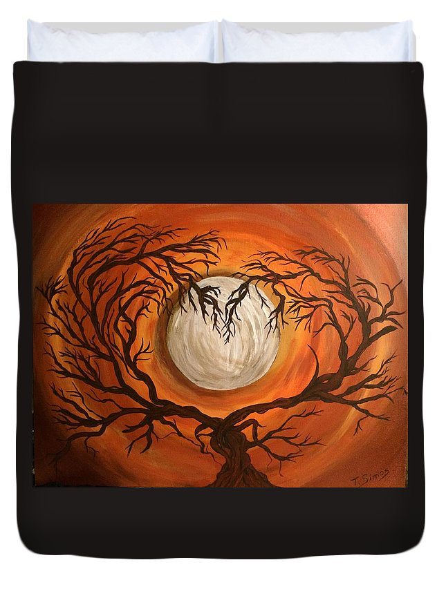 Moon Duvet Cover featuring the painting Love Under The Moon by Theresa Simos