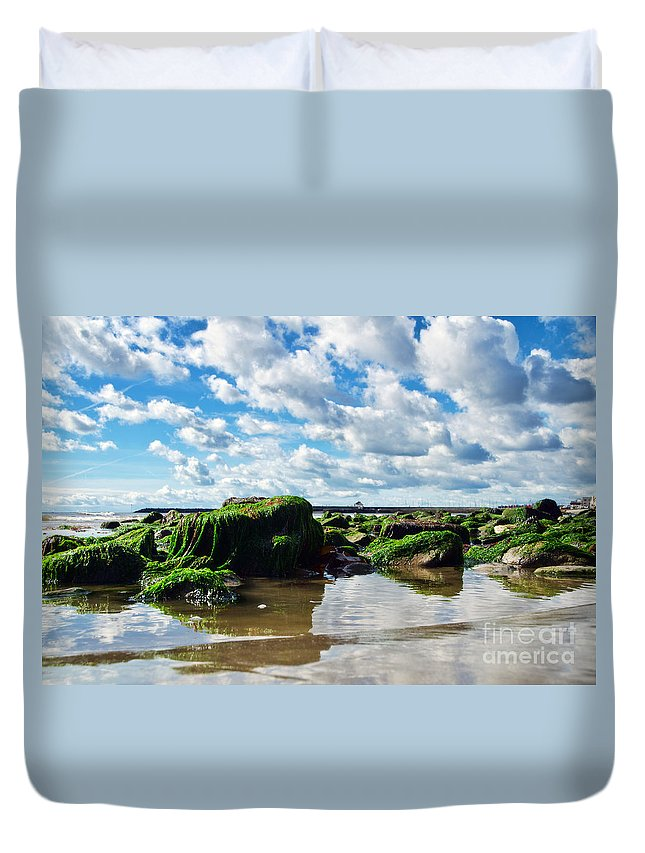 Lyme Regis Duvet Cover featuring the photograph Low Tide At Lyme Regis by Susie Peek
