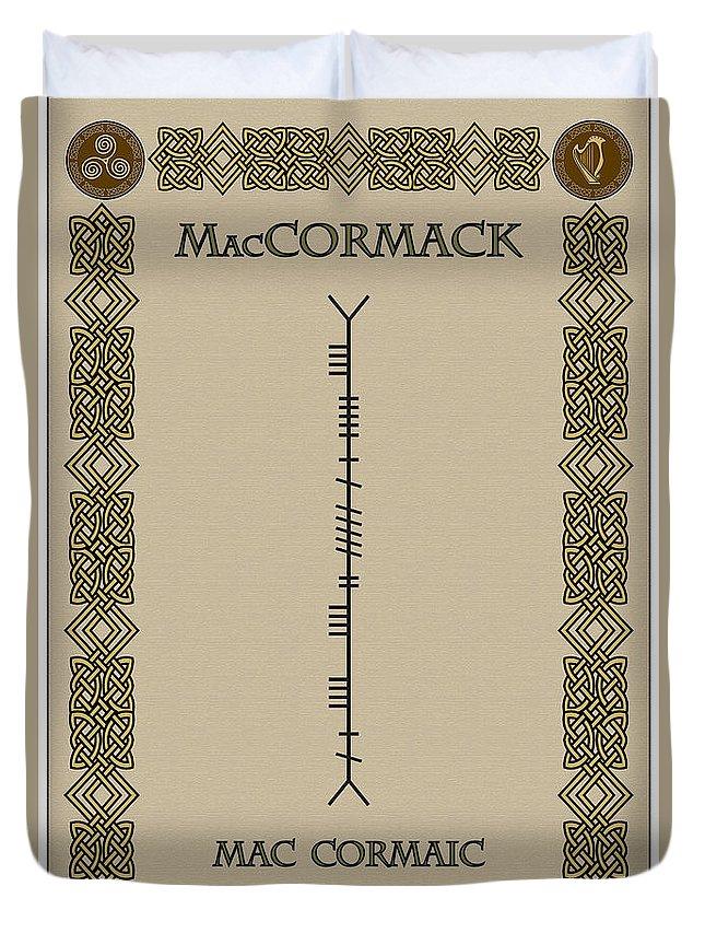 Maccormack Duvet Cover featuring the digital art Maccormack Written In Ogham by Ireland Calling