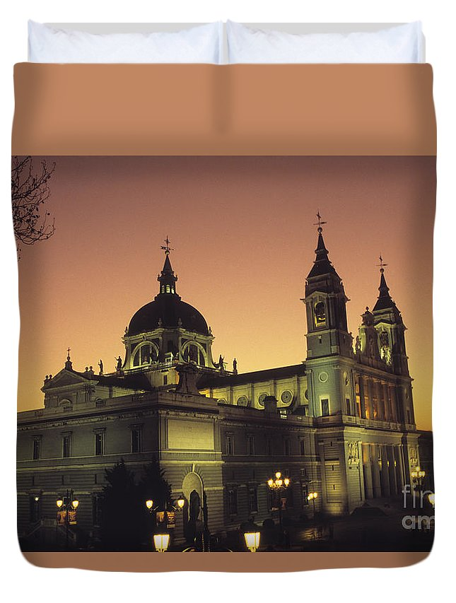 Madrid Duvet Cover featuring the photograph Madrid Cathedral Sunset by James Brunker