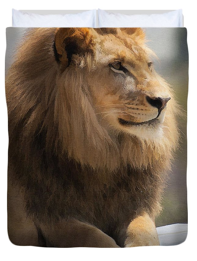 Animal Duvet Cover featuring the digital art Majestic Lion by Sharon Foster