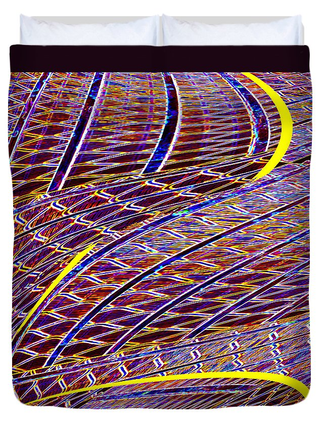 Abstract Duvet Cover featuring the digital art Making Tracks by Wendy Wilton