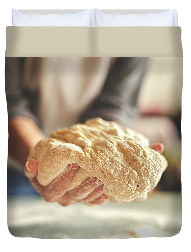 Kneading Duvet Cover featuring the photograph Making Yeast Dough by Nimis69