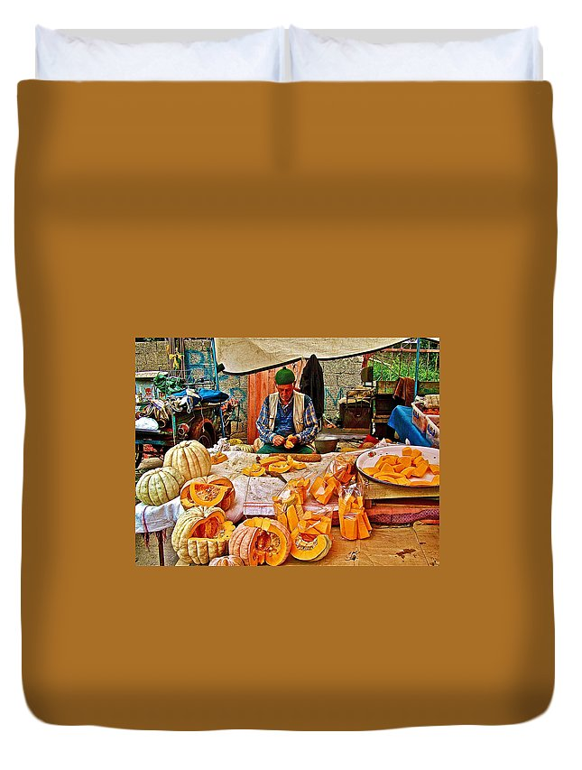 Man Peeling Squash In Antalya Street Market Duvet Cover featuring the photograph Man Peeling Squash In Antalya Street Market-turkey by Ruth Hager