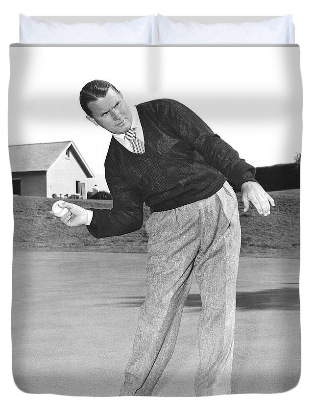1 Person Duvet Cover featuring the photograph Man Posing With Sports Gear by Underwood Archives