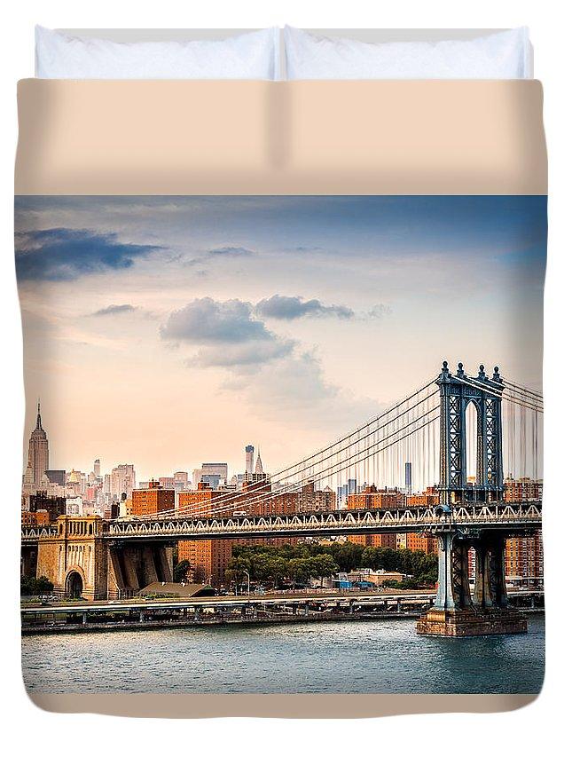 Outdoor Duvet Cover featuring the photograph Manhattan Bridge by Mihai Andritoiu