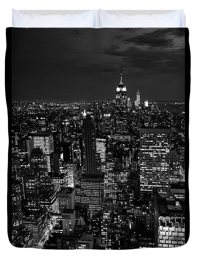 Outdoors Duvet Cover featuring the photograph Manhattan Skyline At Night, New York by Mike Hill