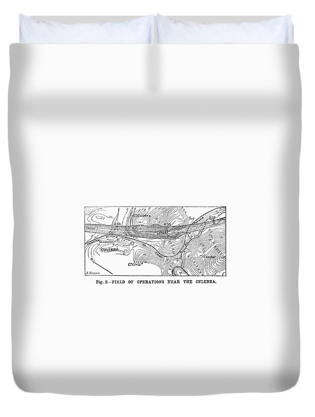1885 Duvet Cover featuring the painting Map Panama Canal, 1885 by Granger