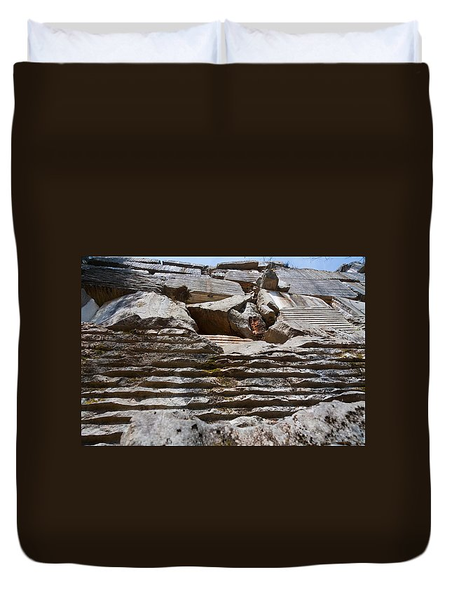 Abandoned Duvet Cover featuring the photograph Marble Quarry by Melinda Fawver
