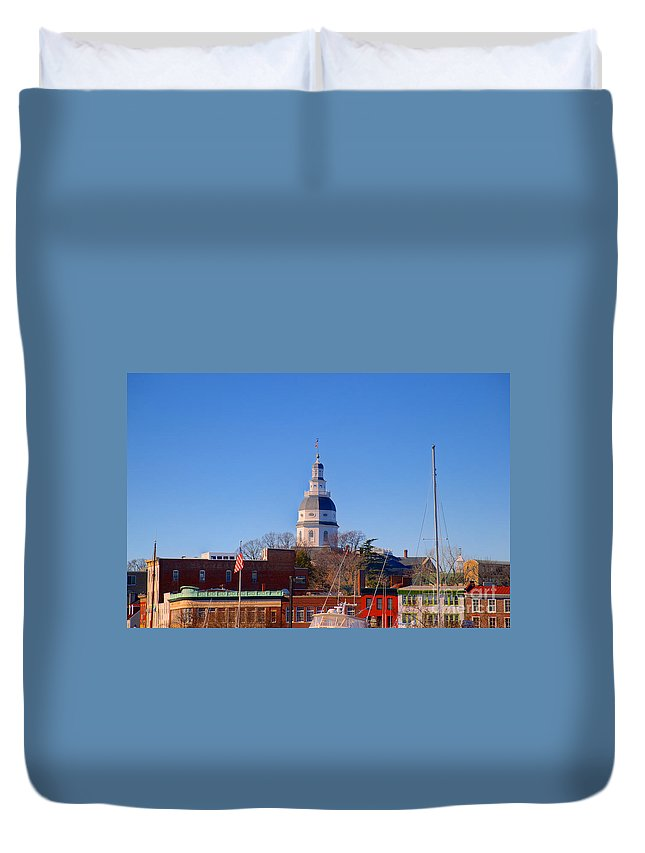 Annapolis Duvet Cover featuring the photograph Maryland State House Dome by Mark Dodd