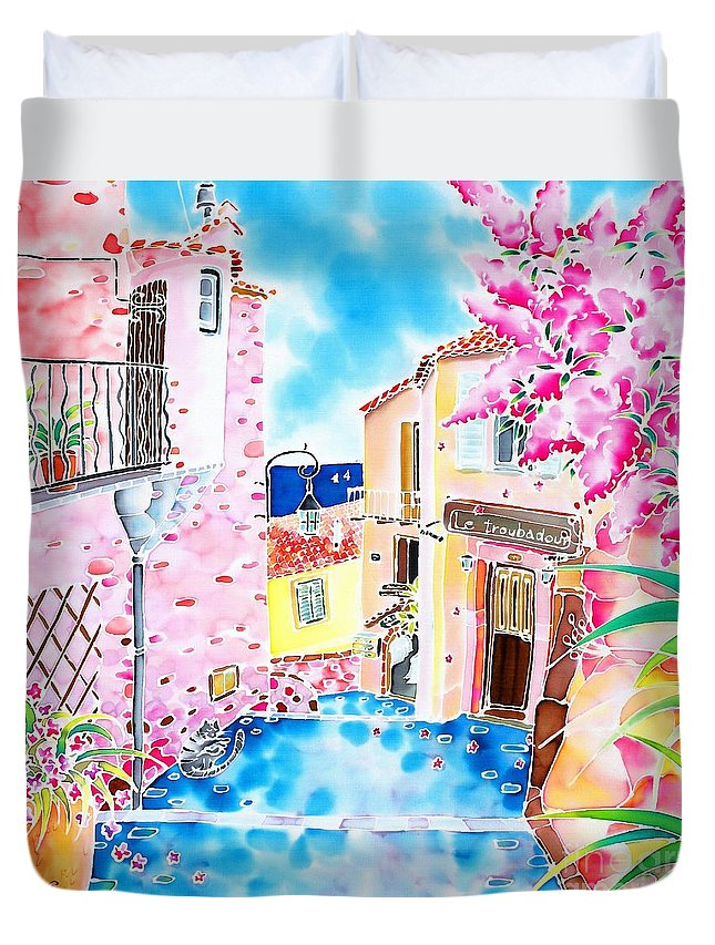 France Duvet Cover featuring the painting Mediterranean Wind by Hisayo Ohta