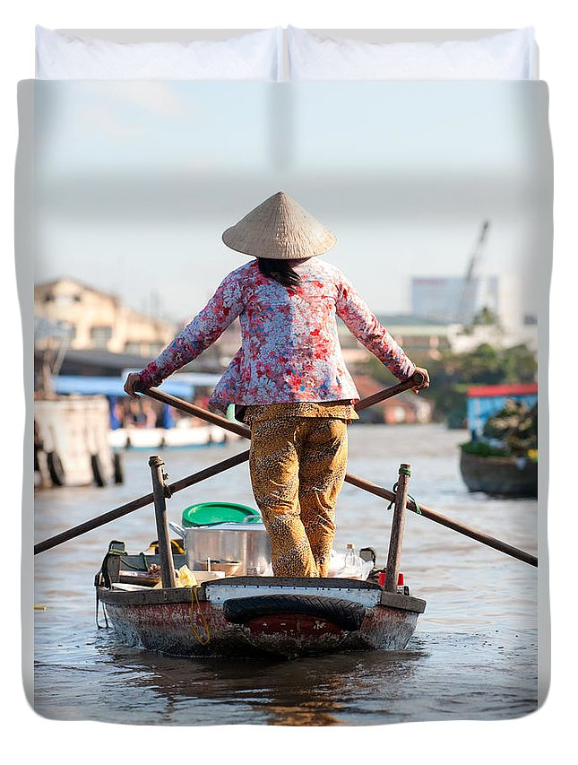 Asia Duvet Cover featuring the photograph Mekong Delta - Vietnam by Luciano Mortula