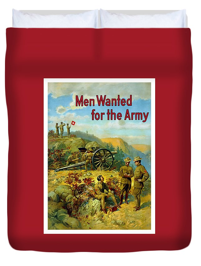 Army Duvet Cover featuring the painting Men Wanted For The Army by War Is Hell Store
