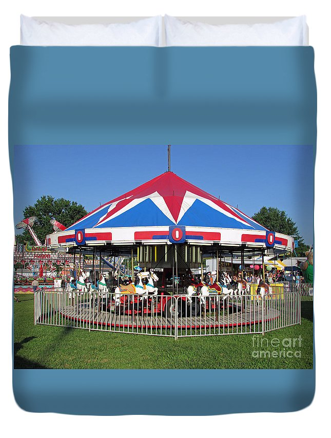 Rides Duvet Cover featuring the photograph Merry Merry Go Round by Jamie Smith