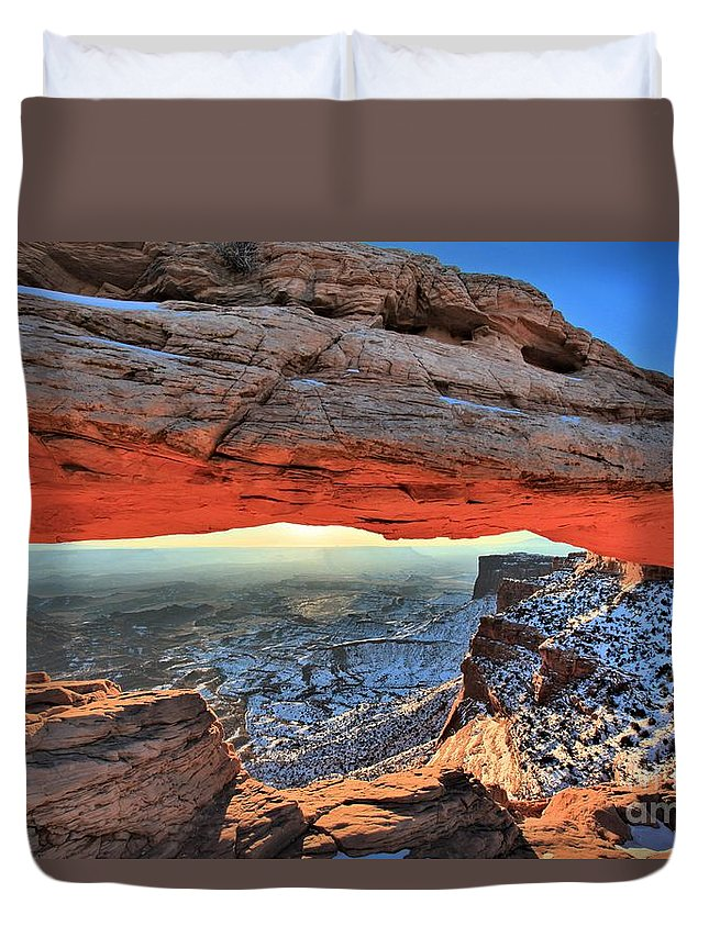 Mesa Arch Sunrise Duvet Cover featuring the photograph Mesa Arch Frame by Adam Jewell