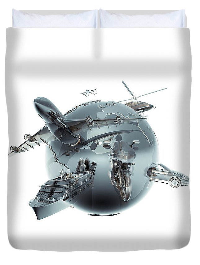 Artificial Duvet Cover featuring the photograph Metallic Globe With Different Forms Of by Coneyl Jay